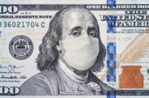 ben Franklin wears a mask